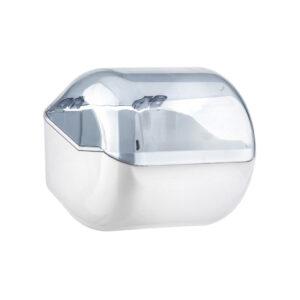 619 porta carta igienica rotolo foglietti con coperchio bianco trasparente marplast